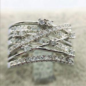 New sterling silver 925 women's diamond ring
